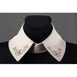 Cuello postizo hecho a mano de lino claro bisuteria fina regalo personalizado