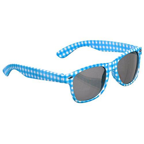 NET TOYS Oktoberfest-Brille Karierte Sonnenbrille blau-weiß Schlagerbrille Karomuster Schlagermove Spaßbrille Funbrille Volksmusik bayerisch Junggesellenabschied Accessoire