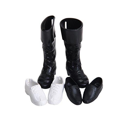 Preisvergleich Produktbild 3 Paar Kunststoff Puppen königliche Prinz Doll Schuhe