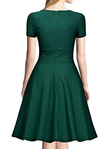 Miusol Vintage 50er Kleid Knielang Ballkleid Rockabilly Cocktail Abendkleid Grün - 2