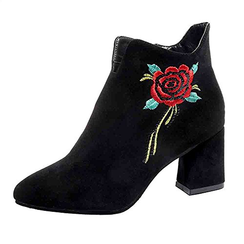 JURTEE Stiefeletten Damen Bestickte Leder Loafer Casual Mitte Kalb Stiefel High Heel Schuhe