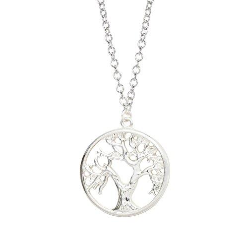 good. Designs Moderno Collar para mujer con árbol de la Vida Colgante de aleación de cobre chapado en plata de ley 925, Silber Beschichtung, talla única
