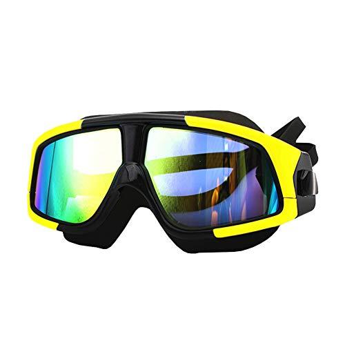 Erwachsene Schwimmbrille mit großem Rahmen und Schwimmbrille Leak Proof Anti-Fog-Silikon-Design Sport Goggles Galvanotechnik Flach Mirror Schwimmglas Gelb und Schwarz - Große, Flache Rahmen