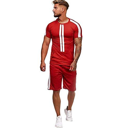 Herren Jogging Anzug Trainingsanzug,Tomatoa Sportanzug T-Shirt Kurzarmshirt + Training Shorts Fitness Kurze Hose Jogginghose Shirt Casual Set S - XXL