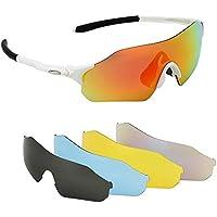 Issyzone Gafas de Ciclismo Gafas de Sol Deportivas Polarizadas UV 400 De Lentes Intercambiables para Hombre