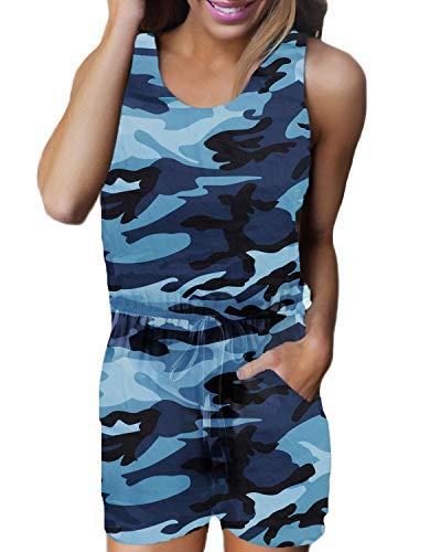 Floral Print Romper (Auxo Damen Ärmellos Kurz Rundhals Jumpsuit Camouflage Playsuit Sommer Strand Einteiler C-blau Camouflage X-Large)