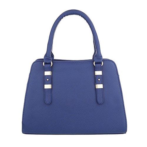 iTal-dEsiGn Damentasche Mittelgroße Schultertasche Handtasche Kunstleder TA-C2334 Blau