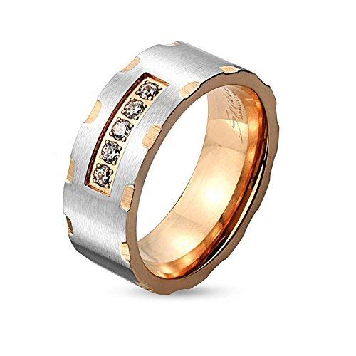 Tapsi´s Coolbodyart® Edelstahl Ring Rose vergoldet 6mm breit Paaringe Zweifarbig gerastert farblose Zirkonia 66 (21)