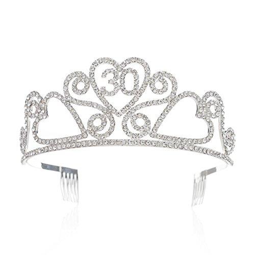SWEETV Funkelnd Kristalle Geburtstagsfeier Krone Tiara Prinzessin Diadem Kopfschmuck mit Haarkämme, 30