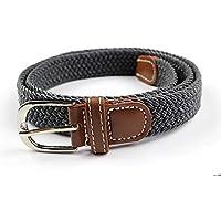 TINERS Lienzo Tejido Cinturón Hombres Y Mujeres Informal Salvaje Tejido Elástico Tejido Elástico Pin Hebilla Cinturón,Gray