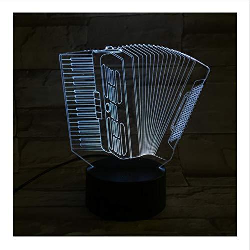 Orgel Musik 3D Optische Täuschung Tischleuchte Stimmung Lampe Touch & Fernbedienung 7 Farben Ändern Licht Neuheit Kinder Geschenk (Orgel Halloween Für Musik)