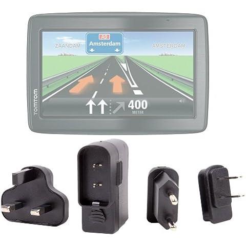 DURAGADGET Cargador De Viaje Con Adaptadores Para El Reino Unido, EU Y EEUU Para Tomtom GO Live 825 / XXL IQ Routes