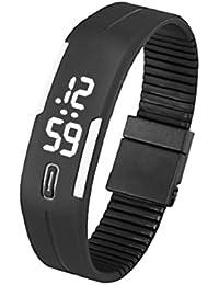 Culater® Para Mujer Para Hombre De Goma Reloj Llevado Reloj Digital De Pulsera Fecha Deportes (Negro+Blanco)