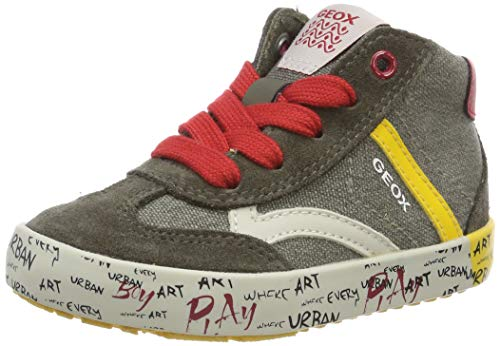 Geox Baby Jungen B Kilwi Boy E Sneaker Grün (Olive/Yellow C3734) 27 EU