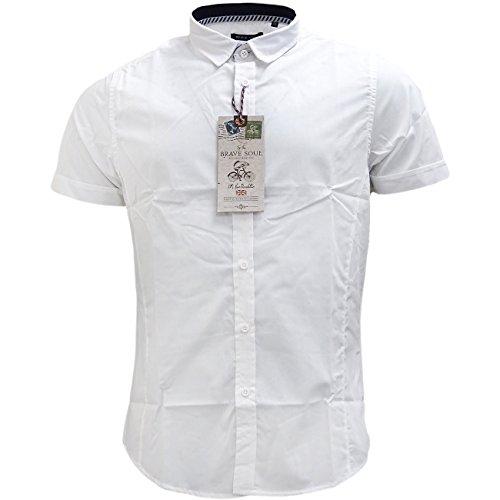 Brave Soul Herren Freizeit-Hemd, Einfarbig Weiß - Weiß