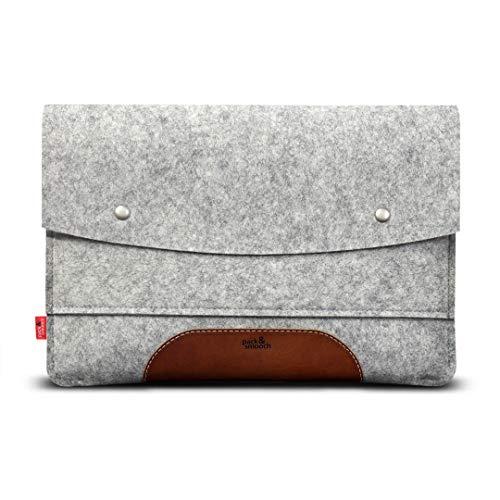 Pack & Smooch Für Surface Pro 6 Hülle 100% Wollfilz Und Pflanzlich Gegerbtes Leder Handmade in Germany - Grau Hellbraun (6-pack-tasche Integrierte)