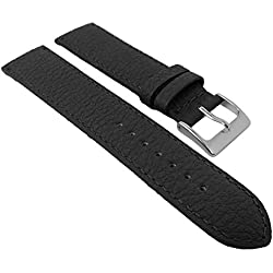 Herzog calf Leather watch strap strong | Replacement Tape 20 mm, 22 mm - Brown or Black, Colours: Black, Width: 20 mm, Clasp: Silver