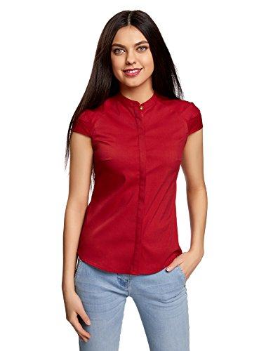 Oodji ultra donna camicia in cotone con maniche corte, rosso, it 38/eu 34/xxs