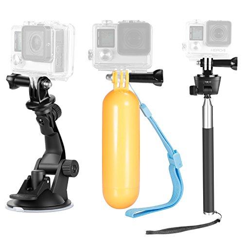 Neewer 9-in-1 Aktion Kamera Zubehör Set für GoPro Hero 7 6 5 4 3 2 1, Hero Session, SJ4000/5000 Nikon und Sony Sport Kamera, inklusive Auto Saugnapf, Selfie Einbeinstativ, Handgriff und vieles mehr