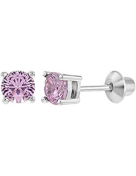In Season Jewelry Kinder Mädchen - Schraubverschluss Ohrringe Winzige Runde 925 Sterling Silber CZ Zirkonia 4mm