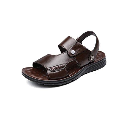 WKNBEU Männer Leder Braun Schwarz Sandalen 2018 Sommer Neue Plattform Freizeit Hausschuhe Jugend Peep Toe Strand Schuhe,Brown-26(CM)=10.23(inch)=EU41=7UK=label(42) (Herren Neue Label Brown)