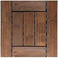 mudiban Suelo de madera sólida natural, suelo anticorrosión impermeable al aire libre, patio jardín suelo de madera maciza rayada balcón baño cuadrado antideslizante tamaño de suelo de madera: 29 * 29