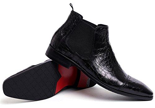 HENGJIA Herren Krokoprägung Chelsea Boots Schlupfstiefel Business Schuhe Knöchelhohe Stiefel Schwarz