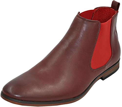Chelsea boots bottines homme à doublure cuir Rouge