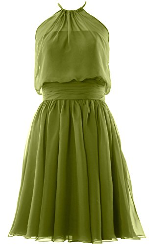 MACloth Women Halter Chiffon Short Bridesmaid Dress Cocktail Formal Party Gown Olive Green
