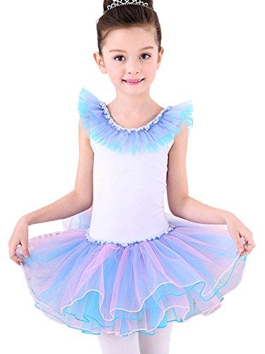 Happy Cherry tuta Abito danza abbigliamento con tutù balletto danza balletto ragazza con chiffo Minigonna, migliore per danza ore o spettacoli-Blu/Giallo, Bambina, Blau, Größe S für Körpergröße ca.110cm