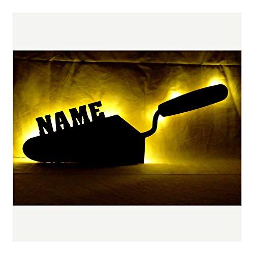 """Schlummerlicht24 3d Led Nachtlicht\""""Spachtel Maurer-Kelle\"""" mit Namen, witzige lustige Mann Männer Geschenke für Handwerker, als personalisierte Deko-Lampe im Schlafzimmer Wohnzimmer Arbeitszimmer"""