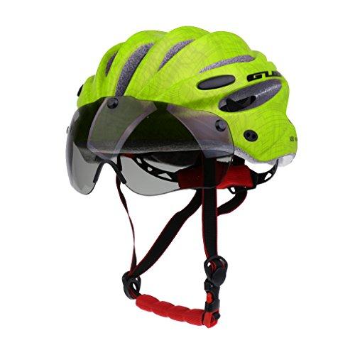 sharplace Professionelles stabiles Road/Mountain Bike Cycling helmrt MTB cyclinghelmets mit Air Attack Eye Shield Helm Visier für Herren Damen, leuchtend grün