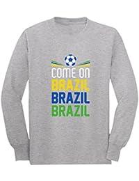 Camiseta de Manga Larga para niños - Vamos Brasil - Apoya a la Selección Brasil en