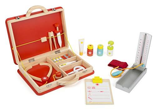 arzt-Koffer aus Holz, inkl. Zubehör wie Stethoskop, Fieberthermometer und Spritze, ab 3 Jahren ()