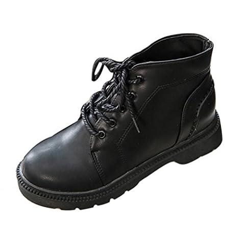 Chaussures de Ville Femme Cheville Bottes, QinMM Lacets Britannique Style Casual Chaussures Plate Forme (EU 38, Noir)