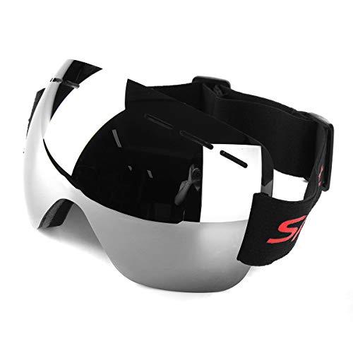 Motorrad-Schutzbrille Anti-Fog Uv Ski-Snowboard-Racing Sonnenbrillen Schnee-Spiegel-Gläser - Farbe, Silber