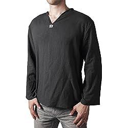 Lofbaz Camiseta de cuello en V 100% de algodón Hippie Playa Negro Tamaño S