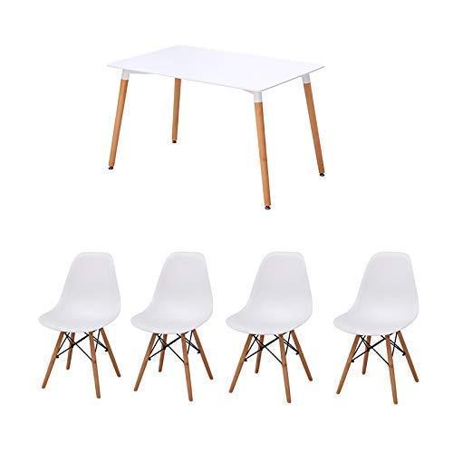 Joolihome Paris Esstisch mit 4Stühlen, aus Holz, für Büro, Wohnzimmer, Küche, Weiß