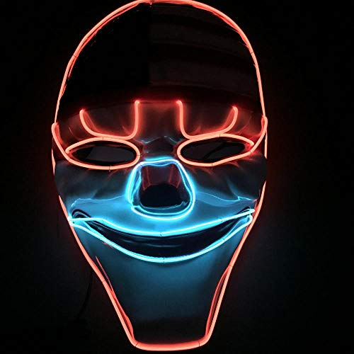Fdit LED Mask Luminoso Glowing Cool Halloween Cosplay máscara Wire Light up Grin máscaras para Navidad, Carnaval, Masquerade y DJ Show