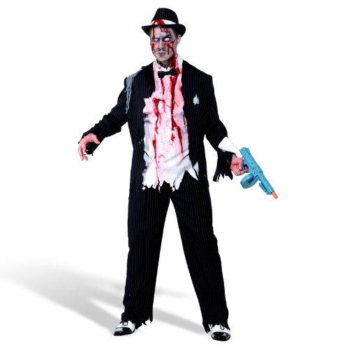 Gangster Kostüm Herren Zombie - Halloween Herren Kostüm Zombie Gangster blutig Horror Größe M