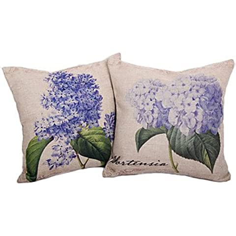 Set de 2 País Hortensia Algodón / Lino Cubierta almohada decorativa