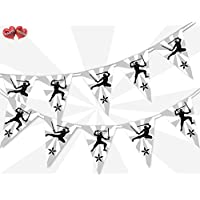 Party Decor Black and White classic Print Ninja Themed Bunting Banner 15 flags for simply awesome boy man tough Birthday party decoration