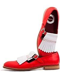9ba06454df0 Beatnik Mujer Zapato de Hebilla Brenda White en Red en Piel de Becerro  Bicolor