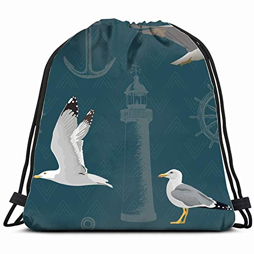 Air Breeze Marine (DD Decorative Naval Hovering Resting Gulls The Arts air Drawstring Backpack Gym Sack Lightweight Bag Water Resistant Gym Backpack for Women&Men for Sports,Travelling,Hiking,Camping,Shopping Yoga)