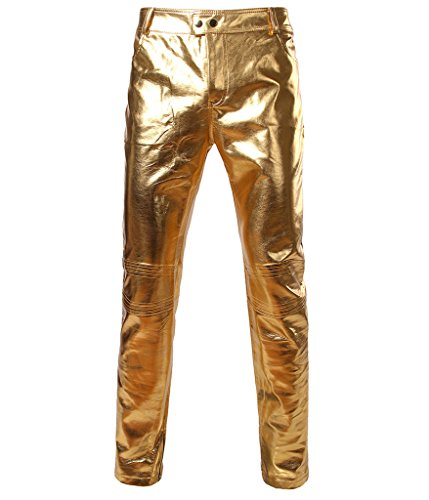 Choose Men's Glänzend Disco Kleid Hose Fashion Metallic Hosen XXL Golden (Hosen Herren Hose Kleid)