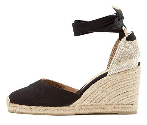 Minetom Sandali Donna Moda Espadrillas con Cinturino Casual Zeppa Piattaforma Eleganti Estivi Sandals Romani Testa Tonda Dolce Nero EU 39