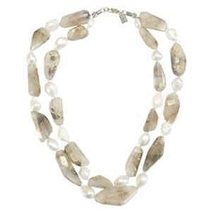 Collier Guy Favia avec perles baroques de plus au moins 20mm et Quartz rutile forme irregulière avec évidentes stries couleur or