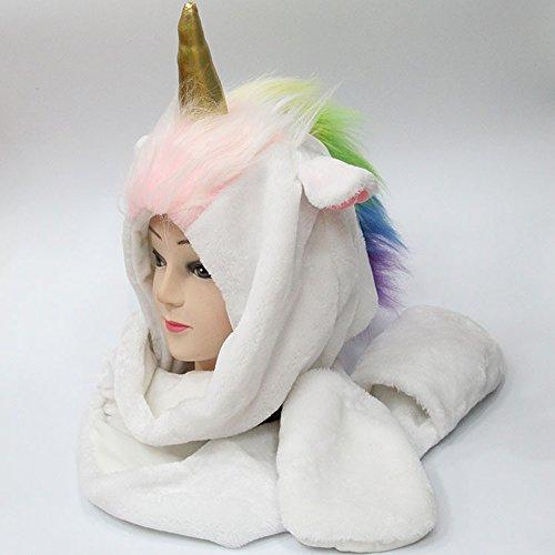 zhuorui Fleece-Einhorn-Haube, Karikatur-Tier-Partei-Kostüm-Geschenk, Weiß (Ohren-Horn-Hut-Schal-Fäustlinge 3 in (Mädchen Aztekische Kostüme Für)