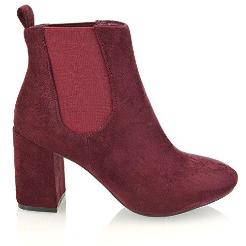 Essex Glam Frauen Synthetische Elastische Hohe Ferse Chelsea Stiefel Burgund Wildlederimitat o1DrXJ