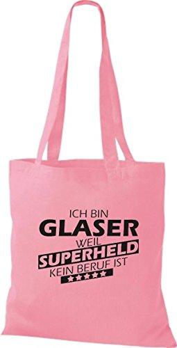 Shirtstown Stoffbeutel Ich bin Glaser, weil Superheld kein Beruf ist rosa